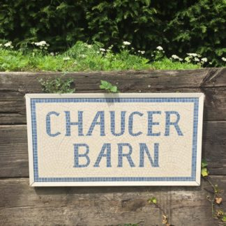 Chaucer Barn mosaic signage
