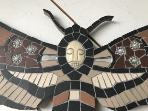 death head moth mosaic art