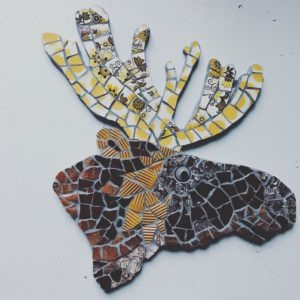 moose head mosaic art