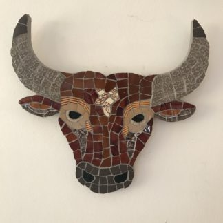 vegan bulls head mosaic art