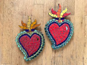 Flaming Mexican Hearts - £45 - 26 cm X 16 cm
